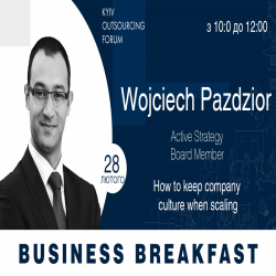 Buy tickets to Business Breakfast with Wojciech Pazdzior: How to keep company culture when scaling?: