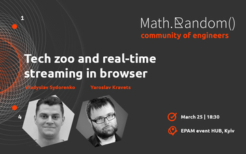 Buy tickets to Math.random(). Tech zoo and real-time streaming in browser: